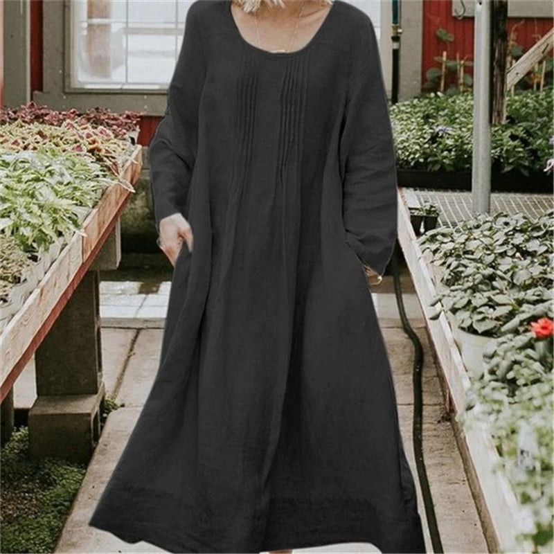 2019 Women Casual Round Long Dress Loose Long Sleeves Plus Size Dress Solid Pocket Linen Cotton Dress