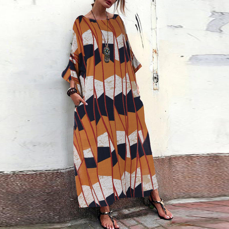Print Plus Size Round Short Sleeve Maxi Dress