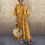 Printed Dress Flare Sleeve Ruffled Pleated Plus Size Maxi Dress