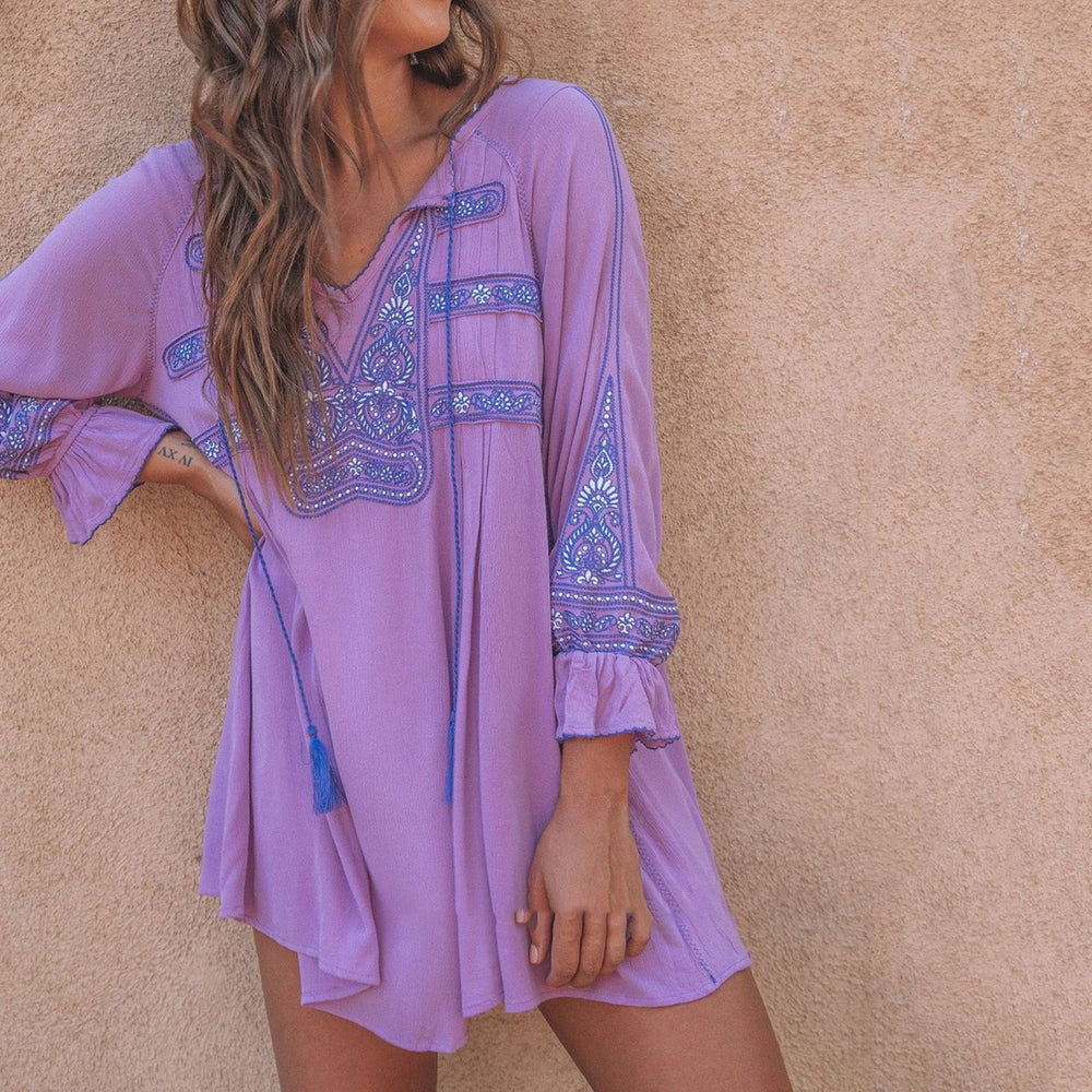 Embroidery Long Sleeve Casual Mini Dresses