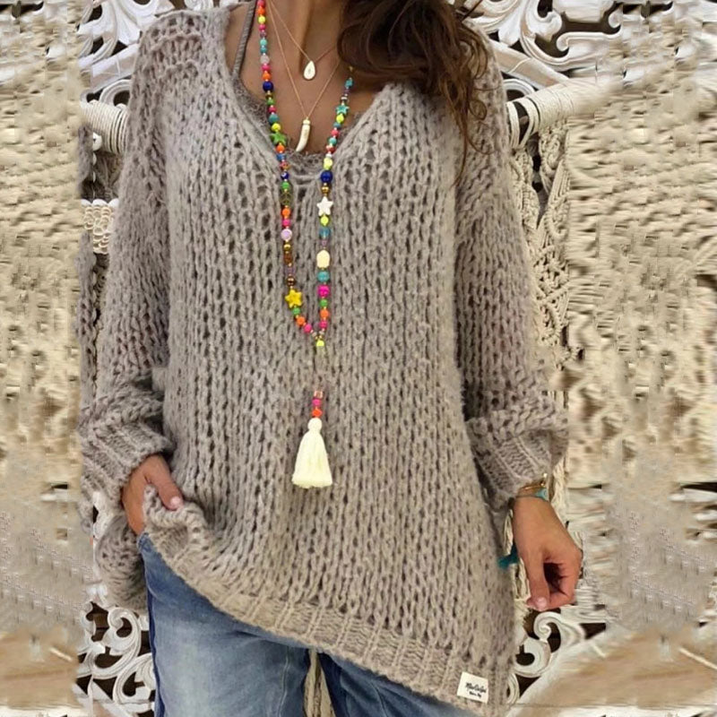 Women Casual Full Sleeve Knitting Sweater Solid V-Neck Loose Oversized Sweater Female Sexy Warm Long Pullover Jumper