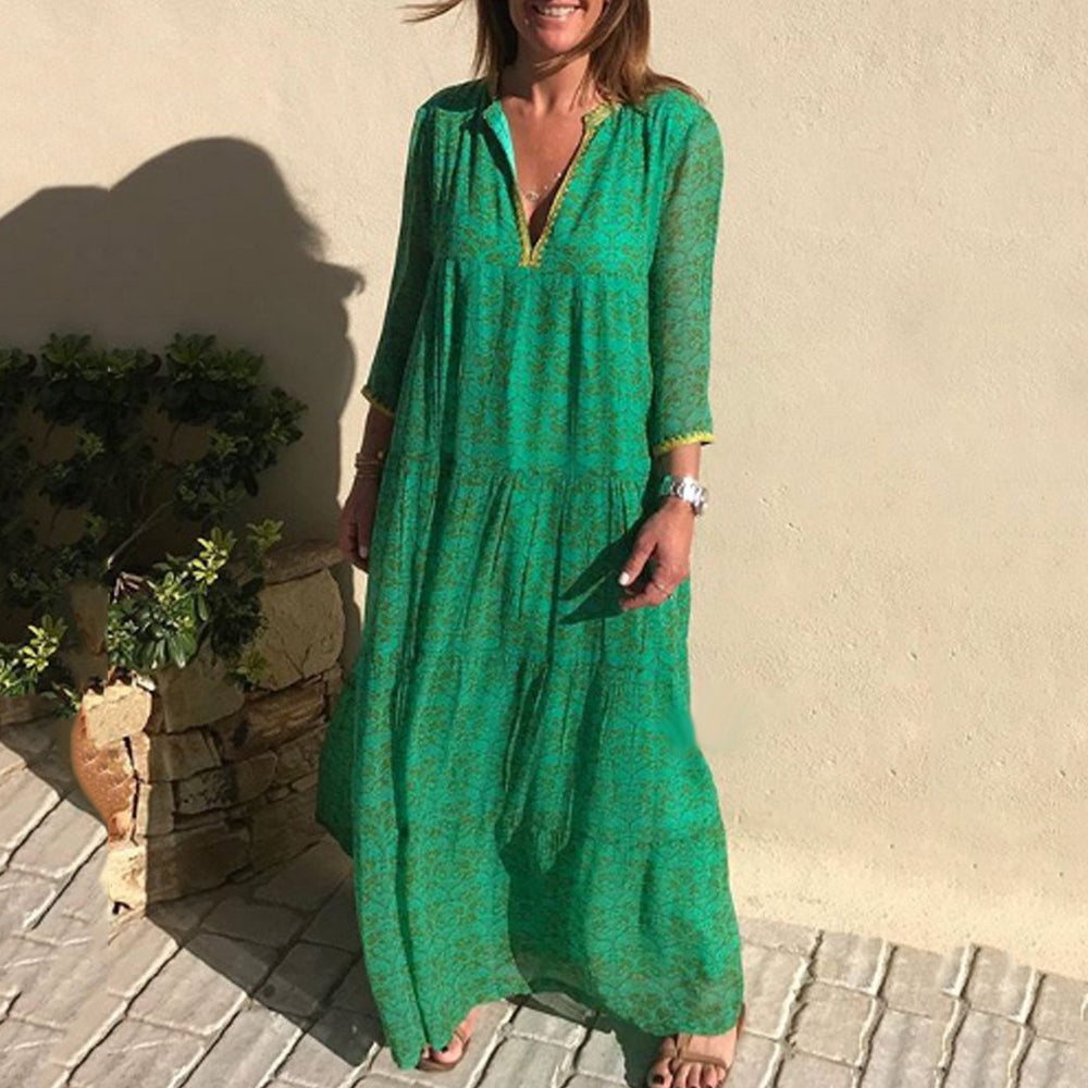 Bohemian Long Sleeve V-Neck Print Maxi Dress