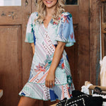 2019 Summer Dress Women Vintage Printed Dresses Casual Loose Patchwork Sexy Flare Sleeve Party Ruffles Vestidos Plus Size
