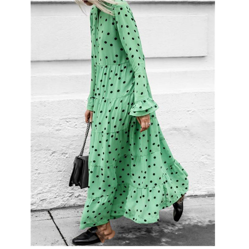 Holiday Polka Dot Printed Maxi Dress