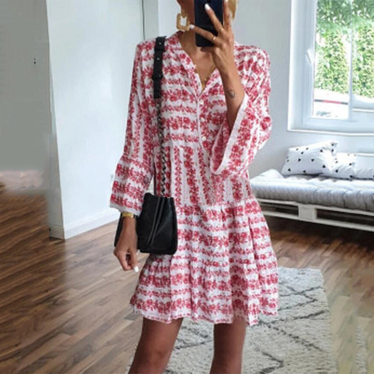 V-Neck Print Long Sleeve Mini Dress