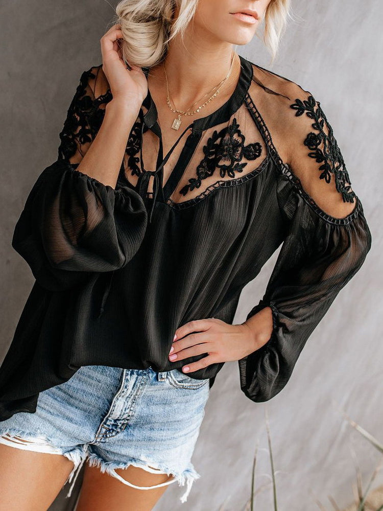 Sexy Plain Loose Lace Sun-Protective Blouses