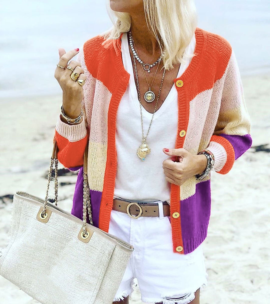 Autumn Long Sleeve Stripe Knitted Cardigan Sweater