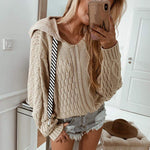 Women Thick Hooded Knitted Sweater Long Sleeve Stretchy Solid Pullovers Female Casual Chic Tops