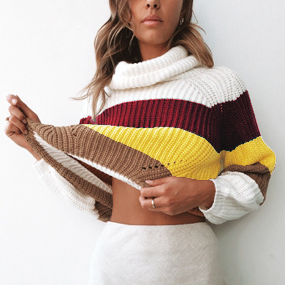 Striped Pullover Patchwork Rainbow Slim Knitwear Cute Sweater