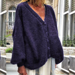 Fall Winter Casual Solid Batwing Sleeve Cardigans V-neck Loose Oversized Sweater Knitted Single-Breasted