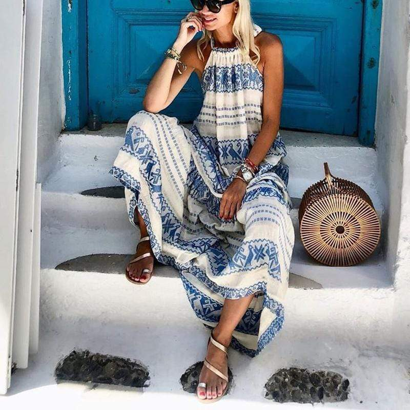 Fashion Sleeveless Printed Halter Dress