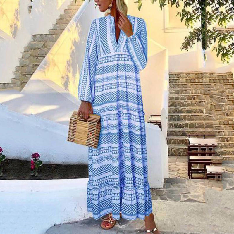 2019 Plus Size Print Long Sleeve Maxi Dress