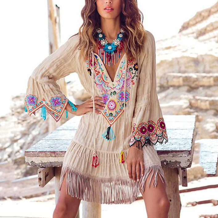 Bohemian Embroidery Patchwork Tassel Dresses