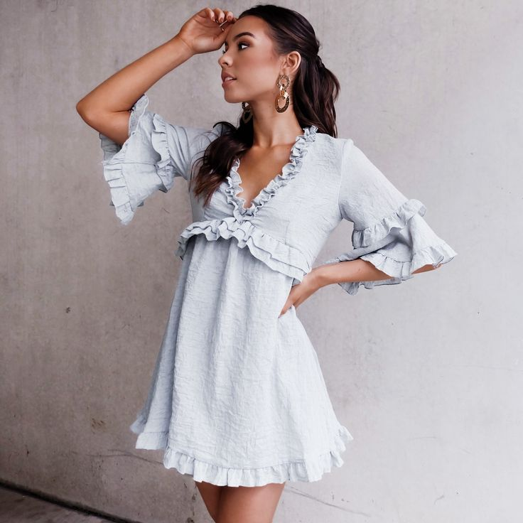 Flare Sleeve Ruffle Dress deep V Neck Women Summer Mini Slim Dress