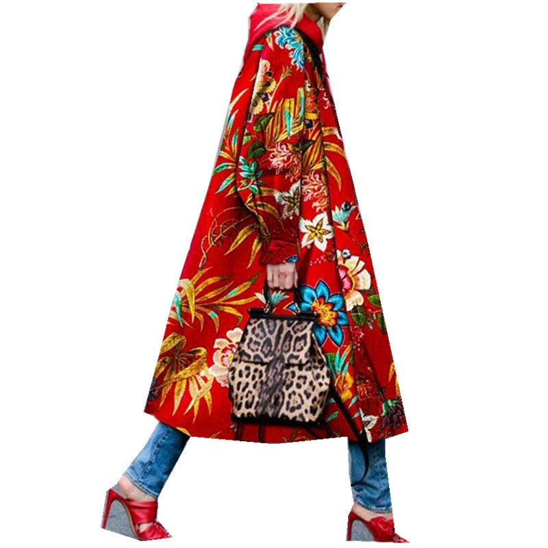 2019 Autumn Casual Trench Coat Women Pattern Long Coat Outwear Long Sleeve Print Fashion Coat