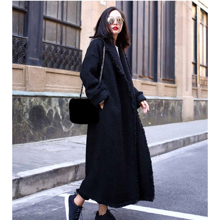 Autumn Winter Oversize Woolen Coat Women Fashion Turn-down Collar Tassel Long Coats