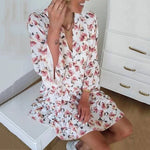 Vacation Casual Ruffles Print Mini Dresses