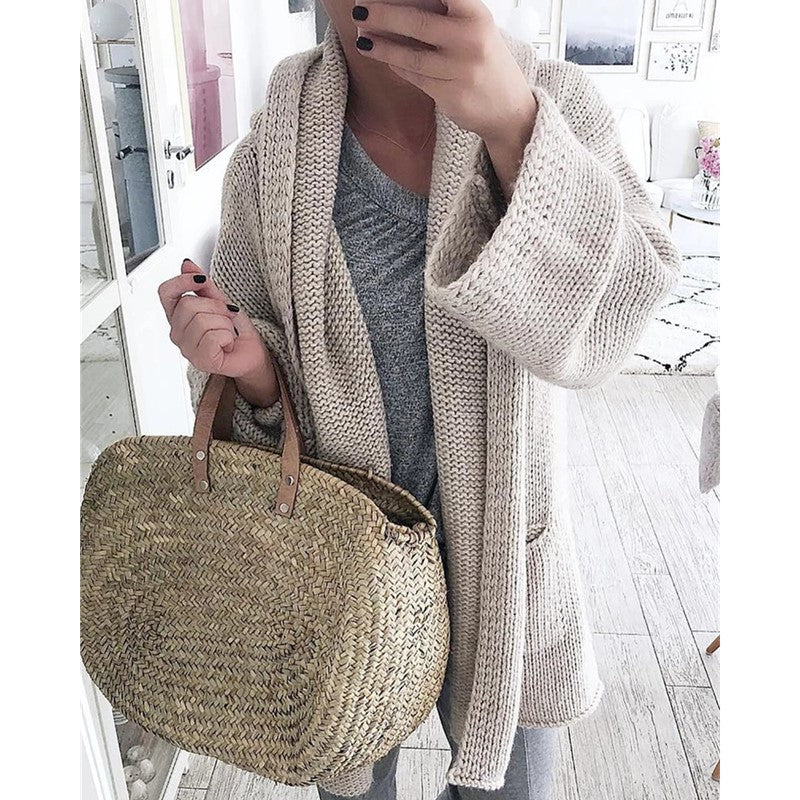 Solid Cardigan Long Sleeve Knitted Sweater Women Open Stitch Casual Sweters Women 2019 Loose Cardigan