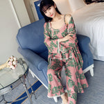 Three-piece Sets Cotton Lounge Wear Floral Robe+Cami Top + Pants Pajamas Sets Women Leisure Homewear