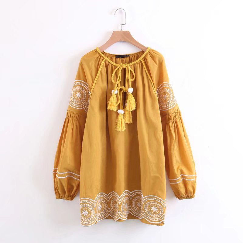Embroidery Loose Casual Long Sleeve Tassel Tie Shirt