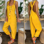 Summer Casual Loose Sleeveless Backless Linen Cotton Jumpsuit