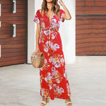Boho Print Short Sleeve Deep V Neck Beach Dress