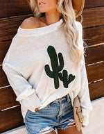 Autumn Winter Off-shoulder Cactus Embroidery Pullovers Long Sleeve Casual Sweater Tops