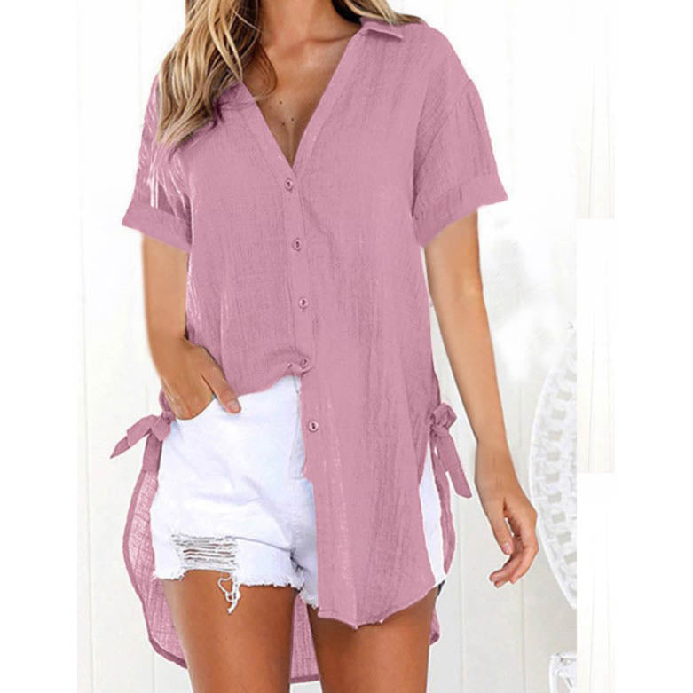 Lace Up Short Sleeve Long Shirt Casual V-Neck Solid Bow Blouse