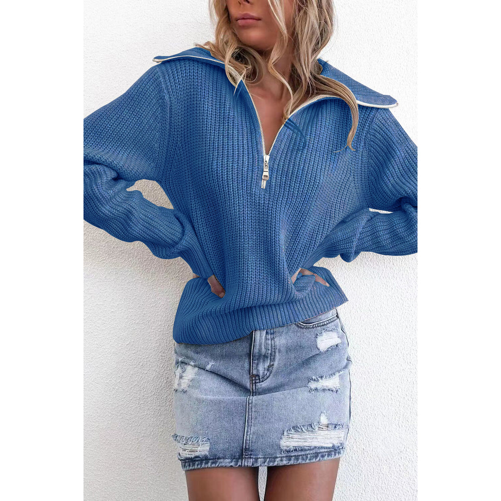 Zipper Turtleneck Solid Women Sweater Loose Knitted Full Sleeve Sweater Pullover Female Casual Jumper