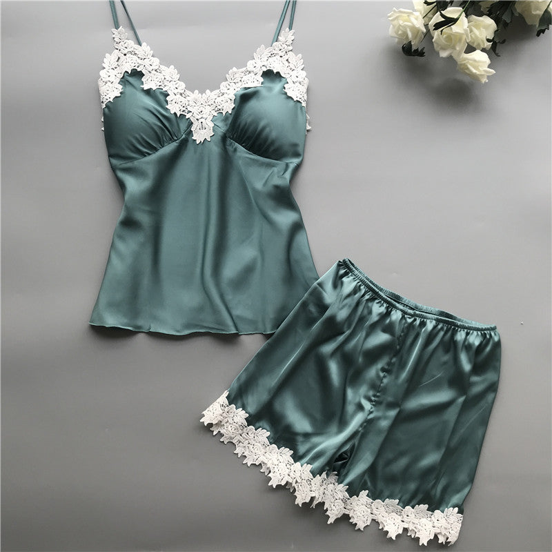 Sleep Lounge Pajama Set Sexy Satin Sleepwear Women Summer Pyjama Femme Fashion Flower Pajamas