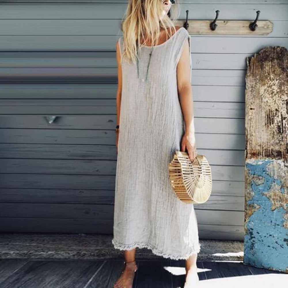Tank Dress Sleeveless Tassel Bow Cotton Linen Dress