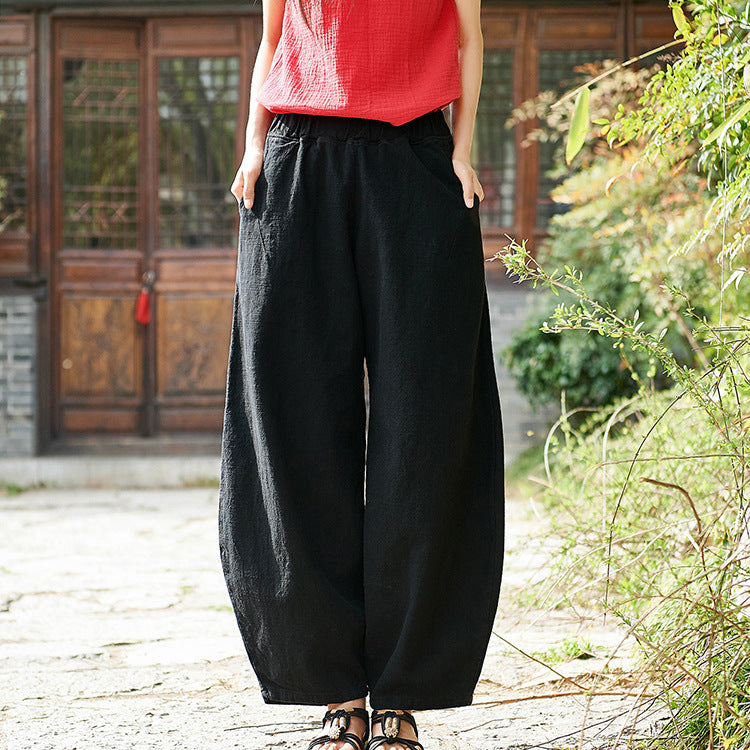 Casual Style Cotton Linen Trouser Solid Color Women Pants