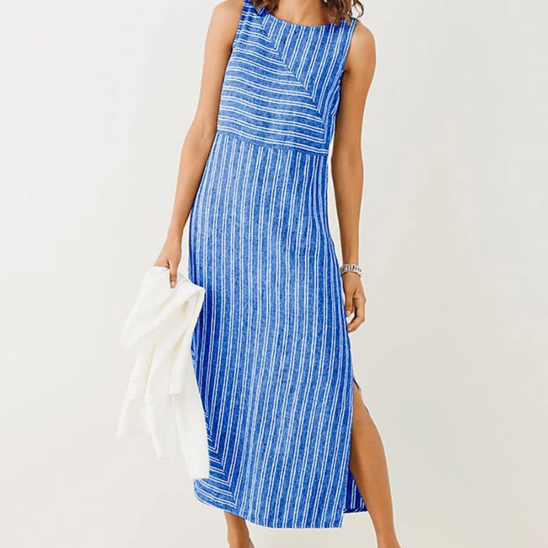 Summer Casual Sleeveless Strip Split Sundress Fashion O-neck Dresses