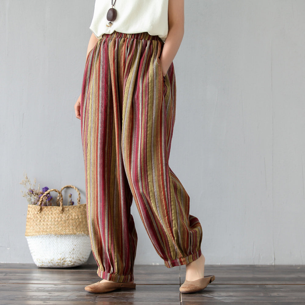 Summer Striped Cotton Linen Pants Vintage Elastic Waist Pockets Pants