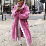 Pink Long Teddy Bear Jacket Coat Women Winter 2019 Thick Warm Oversized Chunky Outerwear Overcoat Women Faux Lambswool Fur Coats