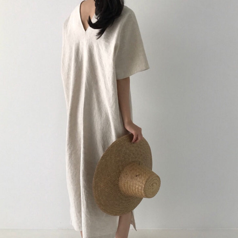 SHENGPALAE 2019 Loose Casual Style The Dress For Summer V Collar Short Sleeve Big Size Korean Fashion Women Dresses Tide FM57412