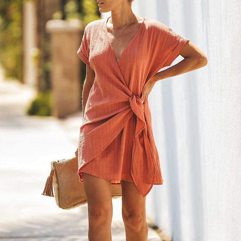 Deep V Neck Wrap Casual Short Sleeve Irregular Summer Beach Mini Dress