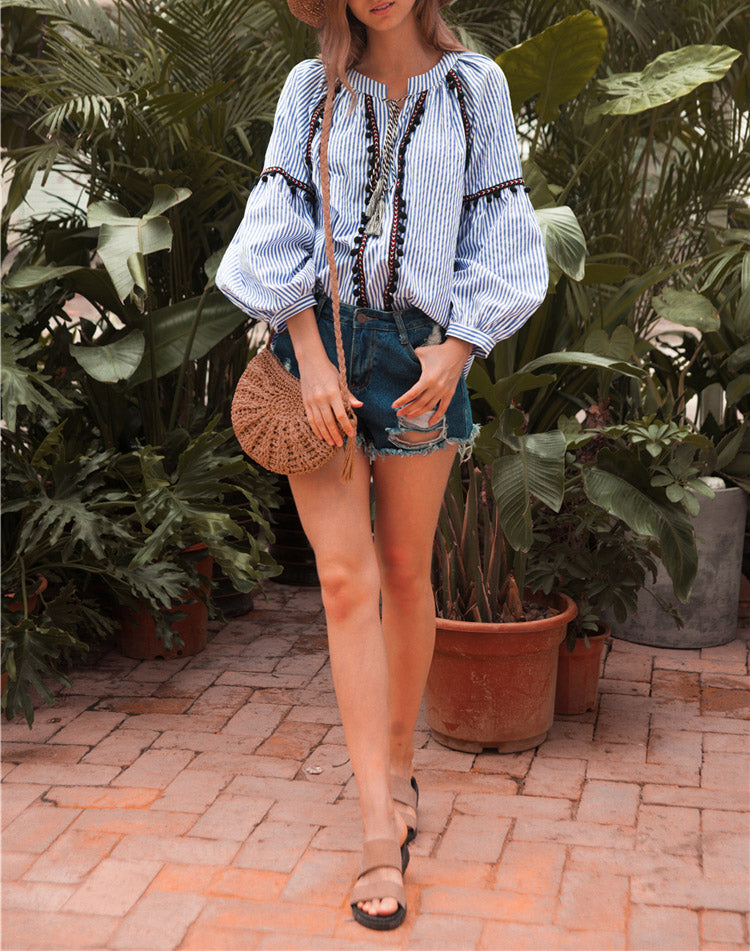 Summer Long Sleeve Loose Embroidery Boho Blouses