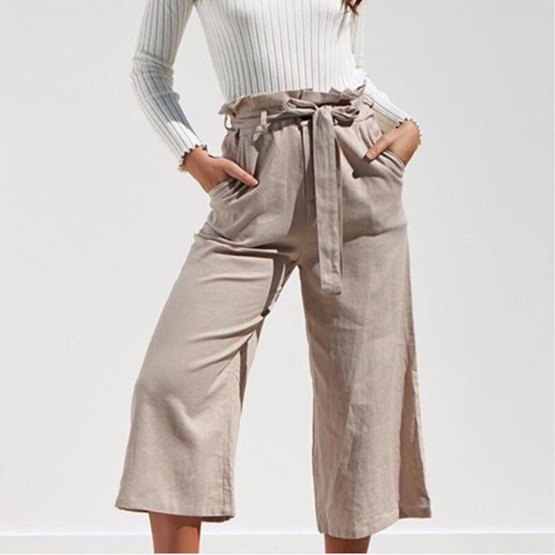 Office Lady Summer Casual Pants Female Solid Lace Up High Waist Pant