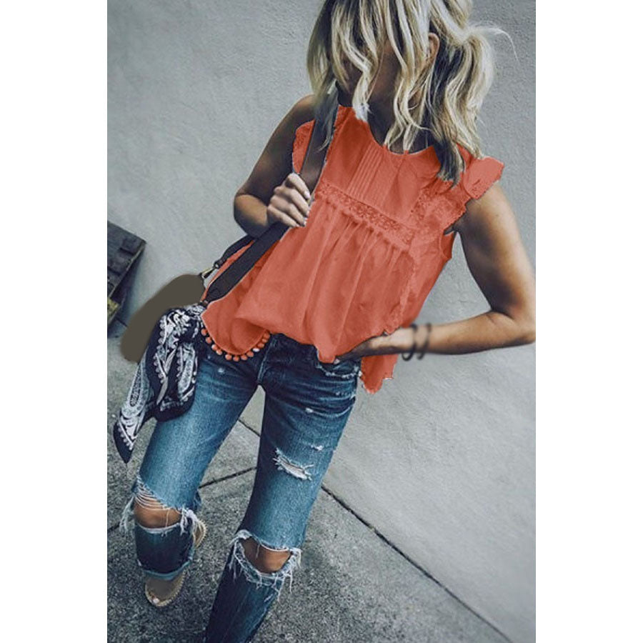 Patchwork Lace Blouses Sleeveless Lace Hollow Tops