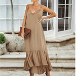 Bohemian Boho Maxi Woman Dress Casual Vintage Beach Dresses Pure Color Loose Spaghetti Strap Party Vestido