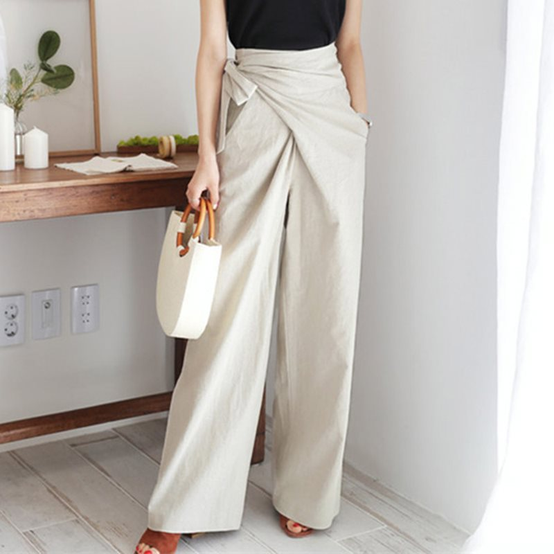 Vintage Office Ladies Elegant Black Pants Women Loose Wide Legs Pant
