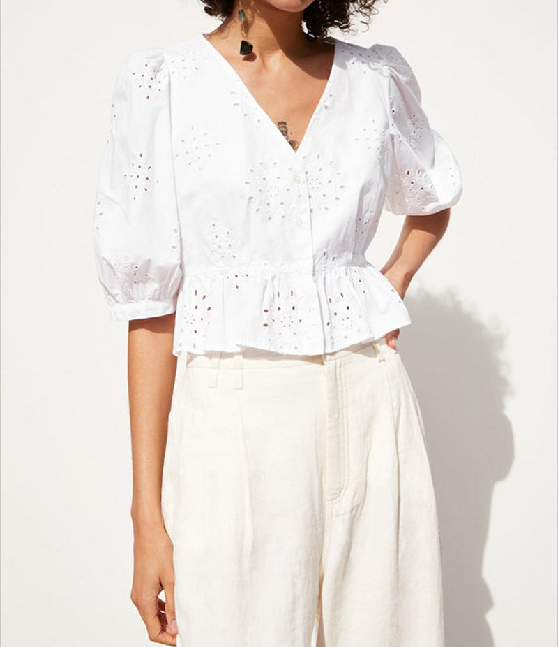 Elegant White Lace V Neck Blouse Shirt Sexy Hollow Out Blouse