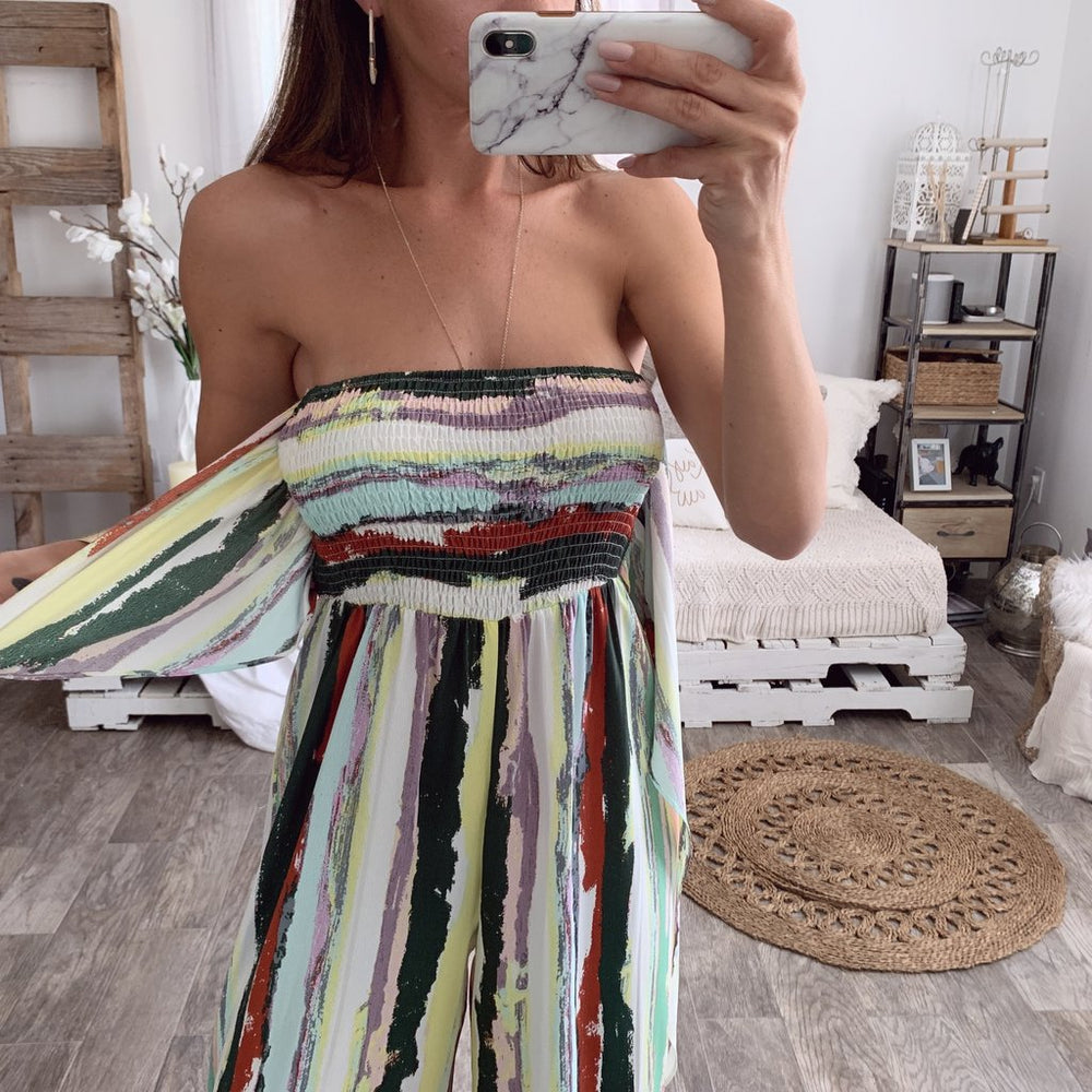 Sexy Striped Off Shoulder Lady Summer Fashion Loose Print Bow Jumpsuit