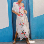 Sexy Long White Cotton Flower Print Dress Short Sleeve Side Split Beach Dress