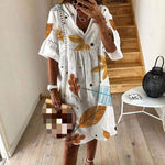 Hollow Out V-neck Summer Floral Print Beach Dress