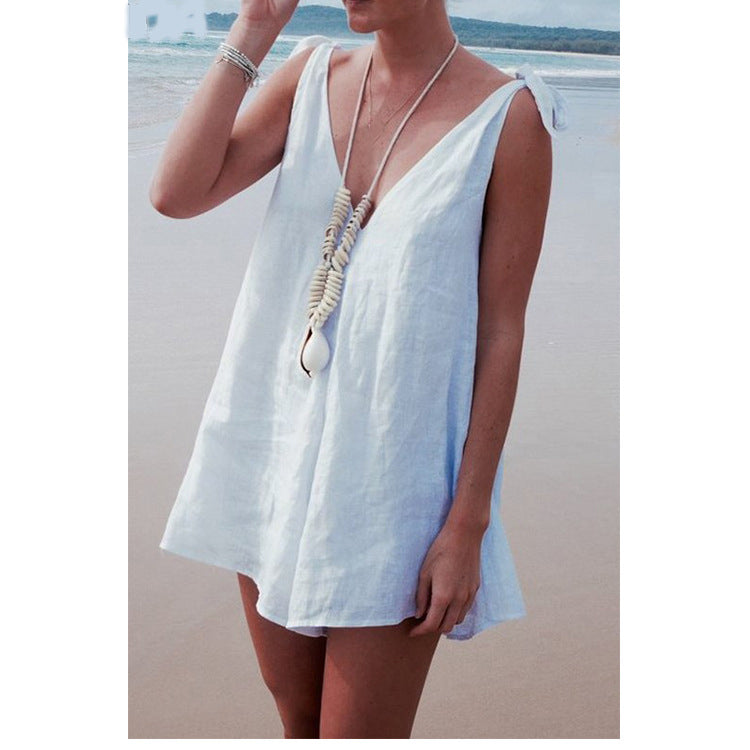 Summer Sexy V Neck Sleeveless Backless Casual Beach Jumpsuits