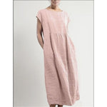 Summer Women Long Dress Solid Sleeveless Cotton Linen Dress Loose O-neck Pockets Casual Dresses