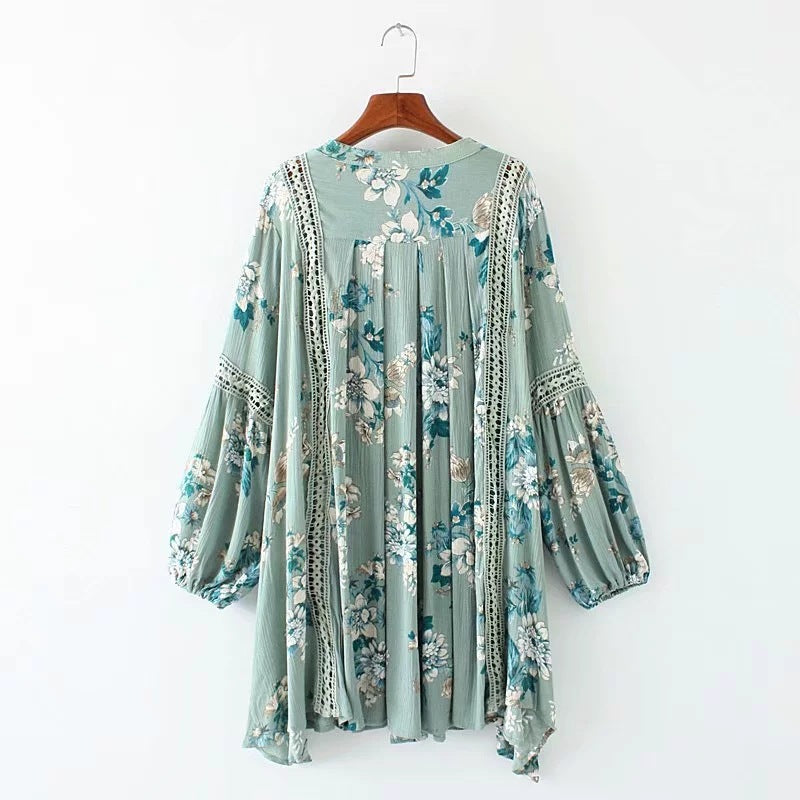 Vintage Hollow Out Lace Loose Dress Floral Printing Holiday Dress