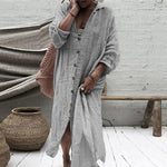 Autumn Sexy Long Sleeve Pocket Cotton Linen Shirt Dress